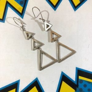 Killer vintage 80's triple triangle dangle earring